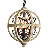 PAFEE 3-Light Rustic Vintage Weathered Wooden Globe Metal Crystal Chandelier Pendant Light for Entry Kitchen Living Room