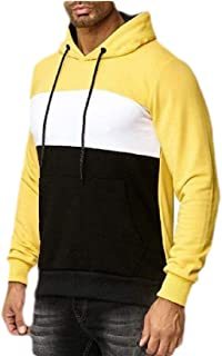 Men Casual Hoodies Cozy Sweatshirts Color Block Pullover