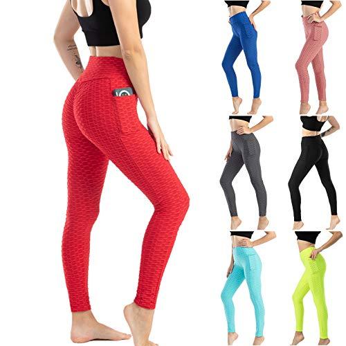 Dtuta Damen Sport Leggings Anti-Cellulite Yogahosen Push Up Trainingshose Hohe Taille Fitnesshose Sporthose Slim Fit Laufhose Kompressionsleggings für Gym Training Jogginghose mit Bauchkontrolle