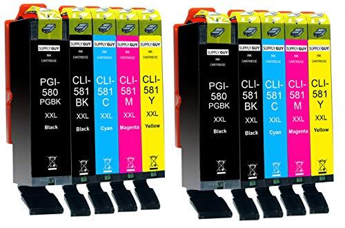 Supply Guy 10 Druckerpatronen XXL mit Chip kompatibel mit Canon PGI-580 CLI-581 für Pixma TR7500 TR7550 TR8550 TS6100 TS6150 TS6151 TS6250 TS6251 TS6350 TS6351 TS705 TS9540 TS9541c TS9550 TS9551c
