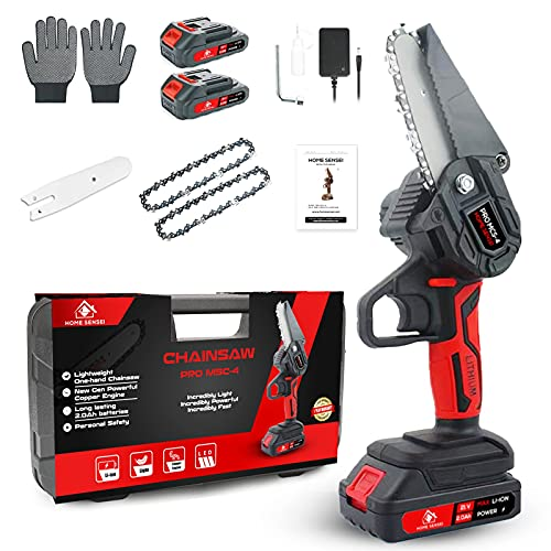 Mini Chainsaw Cordless - New Gen 4 Inch Mini Cordless Chainsaw with 2 Batteries 20V - Weight 1,2 Kg - One-Hand Handheld Chainsaw with Safety Lock - Perfect for Trimming & Garden Pruning - Home Sensei