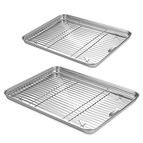 Qiaogell Baking Sheets With Wire Racks set(2 Sheets+2 Racks), 304(18/8) Food-grade Stainless Steel Cookies Sheet ,Nonstick Baking Pans Tray, Thick, Heavy Duty and Easy Clean