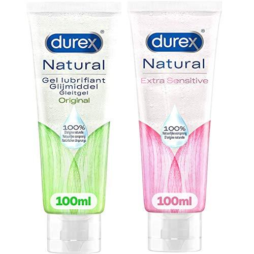 Durex Gleitgel für Intim auf Wasserbasis und Sensitiv mit Aloe Vera – 2 Stück Sex-Gel, 100 ml