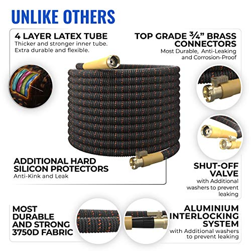 TBI Pro Expandable Garden Hose Kit 50 FT - Superior Strength - 4-Layers Latex, Extra-Strong Brass Connector- 8-Way Durable Zinc Water Spray Nozzle Free Kink Flexible (50FT SET)