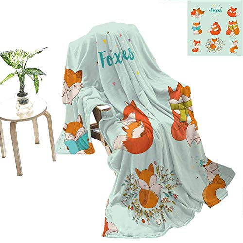 Mademai Fox Camp Chair Blanket Lovely Fox Characters Sleeping Reading Romantic Couple Nature Collection Kids Comic Gifts for Women Multicolor 70x60 Inch