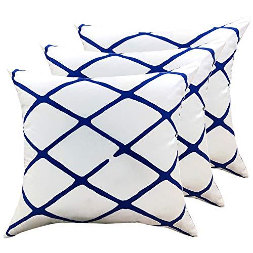 casamia - Juego de 3 Cojines Decorativos para sofá (algodón, 45 x 45 cm), diseño de Cuadros, Color Blanco y Azul