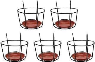 YARNOW 5 Sets Balcony Hanging Flower Pot Racks Creative Over Rail Planter Holder Iron Art Hanging Baskets for Patio Balcon...