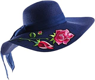 QYJpB-Hats Ladies Summer Sun Hat,Women Straw Sun Hat Collapsible Sun Hat Flower Ribbon Beach Hat (Color : Blue)