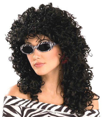 Forum Novelties Women's 80's To The Maxx Wild Curl Wig, Black, One Size