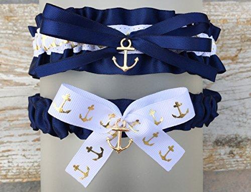 Navy Blue Satin White Wedding Bridal Garter Set - Gold Anchor Charm