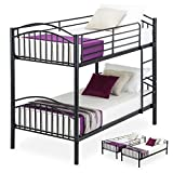 mecor Metal Bunk Beds Frame 2 x 3FT Single, 2 Person For Kids Teenagers Childrens and Adults Twin Bed, Black