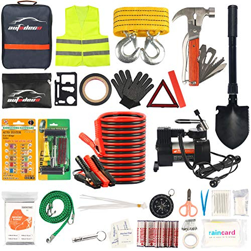AUTODECO Car Roadside Emergency Kit – Premium, Heavy Duty Car Roadside Emergency Kit – 13foot Jumper Cables, Portable Air Compressor, Tow Strap, Multifunctional Hammer, Shovel, etc