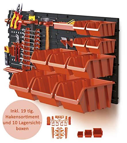 XL Werkzeugwand mit 2 Paneelen und üppigem Zubehörset bestehend aus 19 Hakensortiment und 10 Lagersichtboxen! Aus robustem Kunststoff ! Top