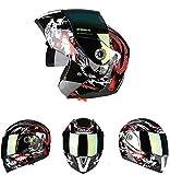 Goolife Moto Crash Modular Helmet High Safety- JIEKAI Full Face Racing Casco De Moto con Visera para Hombres Adultos Mujeres,XL