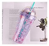 Daily Accessories Plastic Cups Summer Crushed ice Cups Double Water Cups refrigerating Juice Cups Beverage Cups Cold Drink Cups Purple 480ml