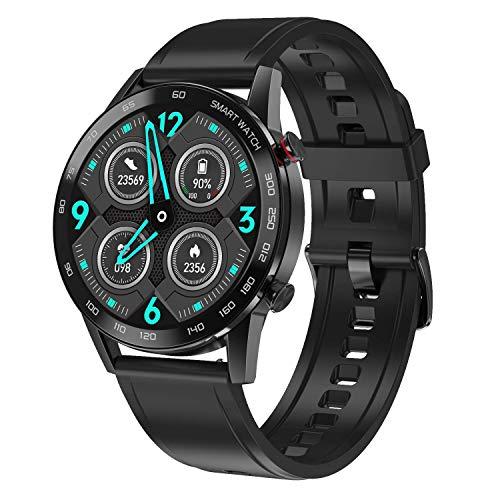 WT2 Smartwatch, Reloj Inteligente con, Monitor del Sueño, Pulsómetro, Impermeable Cronometro Monitor de Actividad y Presión Arterial Compatible Android iOS Correa Goma Negra
