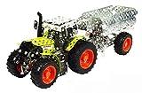 Tronico 10011 - Metallbaukasten Traktor Claas Arion 430 mit Kippanhänger, Maßstab 1:32, Mini Serie, grün, 700 Teile -