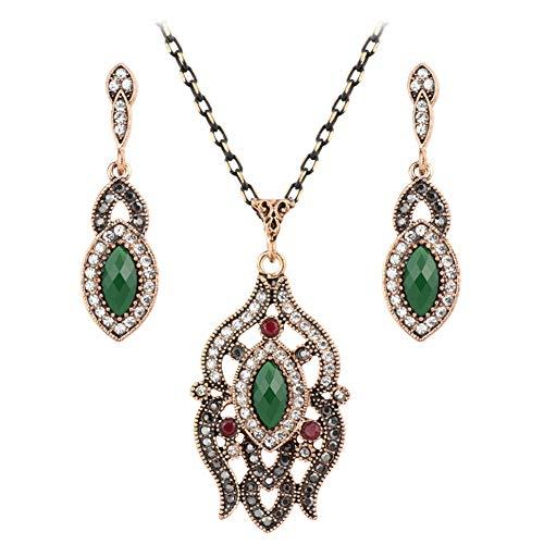 Yddxy Collar de Mujer Pendiente Colgante Vintage Boho Damas Cadena con Incrustaciones de Gemas Conjunto de Joyas de Cristal 2 Piezas (Pendiente + Collar),Rojo