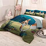 HELLOLEON Mermaid Pure Bedding Hotel Luxury Bed Linen Digital Render of Cute Mermaid Turtle Fantasy World in Ocean Under The Sea Art Polyester - Soft and Breathable (King) Multicolor