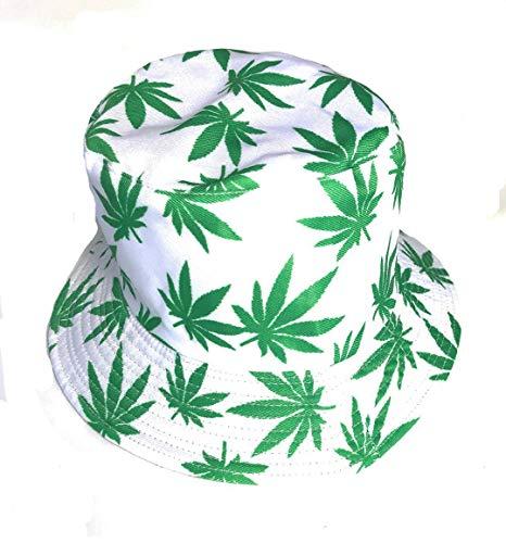 Chapeau de soleil, bob motif feuilles de chanvre, Vert