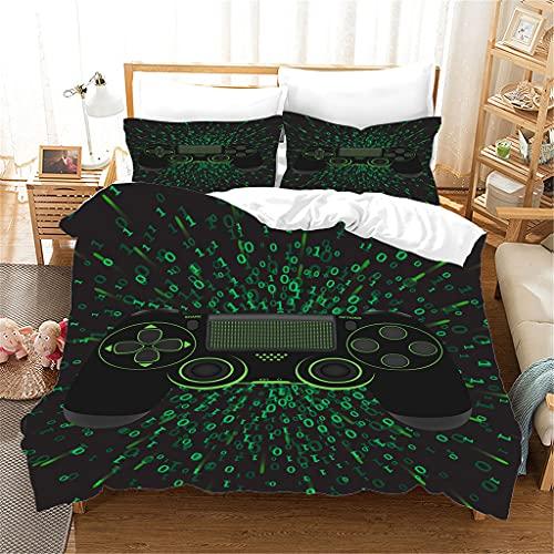 Pojkar gamepad sängkläder set modern gamer påslakan set 135 x 200 cm vit svart röd videospel kontroll sängkläder 2 stycken mjuka mikrofiber med dragkedja och 1 örngott (A20,240 cm x 220 cm)