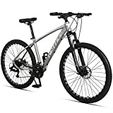 Neffice Men Mountain Bike, Front Suspension, 24 Speed, 27.5 Inch Frame & Wheels, Aluminum Frame,Double Disc Brake Bicycle with Repair Tools and Pumps for Adult Men Women (Matte Grey)