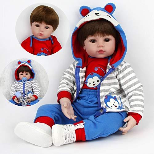 ZIYIUI Bambola Reborn 24 inch 60 cm Realistico Bambole Bambino Neonatale Simulazione Morbido Silicone Vinile Toddler Babies Bambola Reborn Maschio Regalo