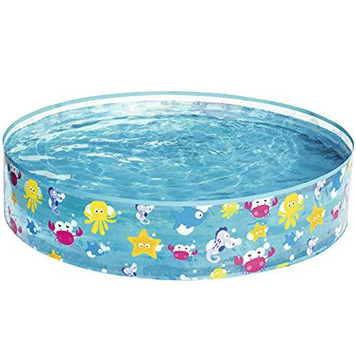 CMAO Piscina para niños con jardín, Reservorio Plegable Engrosado, Piscina de plástico Duro Transparente-4 * 0.8ft_Azul