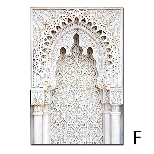 yhyxll Marokko Tür Landschaft Religion Nordic Poster Wandkunst Leinwand Malerei Casablanca Palace Wandbilder Für Wohnzimmer Ungerahmt F 50X70cm