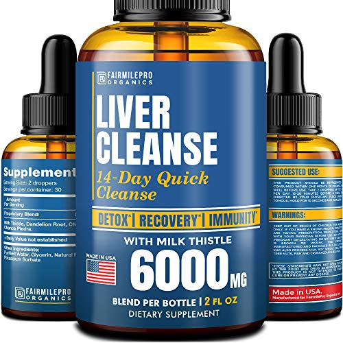 Liver Cleanse Dietary Supplement - Liver Support with Milk Thistle - Made in USA - Premium 6000mg Complex - Liver Health Supplement 2 fl oz