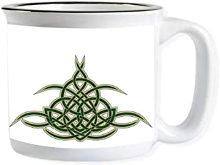 Celtic Imitated Enamel Ceramic Cup,Original Celtic Shield Icon Gothic Design Abstract Scotland Medieval Style Art for Office,3.9
