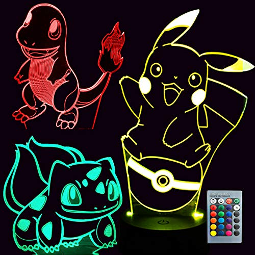 ELLASOM Pikachu Night Light - 3D Illusion Lamp Three Patterns and 16 Color Change Decor Lamp with...
