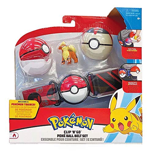 WCT Ceinture de Balle Pokemon Clip 'n' Go avec Figurine Growlithe et 2 Pokeball Officiels Originaux
