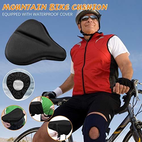MerryWould Sillín de Bicicleta Fitness, Cojín de Asiento de Bicicleta con Funda Impermeable para MTB/Bicicleta de Carretera/Bicicleta Urbana(1 cojín de Asiento + Funda Impermeable)