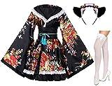 Japanese Anime Lolita Peony Sakura Flower Printing Kimono Costumes Fancy Dress Maid cat Headband Socks Set(DHF005) Black XL