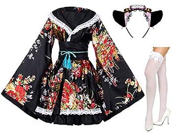 Japanese Anime Lolita Peony Sakura Flower Printing Kimono Costumes Fancy Dress Maid cat Headband Socks Set DHF005  Black L