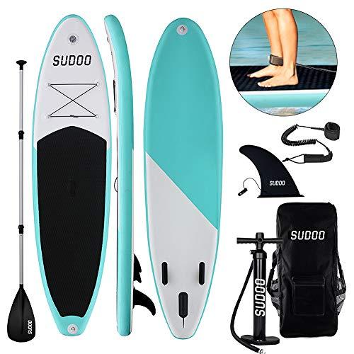 Triclicks SUP Aufblasbares Stand Up Paddle Board Paddling Board Surfboard mit Verstellbares Paddel, Handpumpe mit Druckmesser, Leash, Finner, Rucksack, 300 x 76 x 15cm (Stil 1)