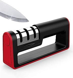 runhua Afilador de Cuchillos de Cocina, Afilador de Cuchillos Manual de 3 Etapas con Base de Antideslizante, Afilador Cuchillos para Cuchillos de Todo Tamaño del Hogar