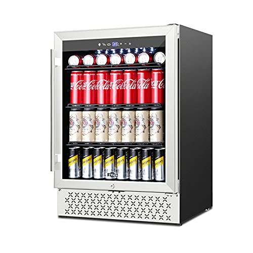 Beverage Refrigerator 24 Inch, 190 Can Built-in/Freestanding Beverage Cooler Fridge with Glass Door and Advanced Cooling Compressor for Beer and Soda or Wine, LOW NOISE, 37-64℉