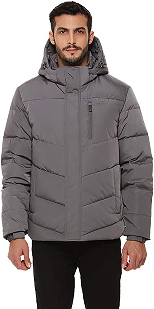 Outlet sale feature universo Men's Heavy shopping Duty Down Coat with Winter Hood I Removable