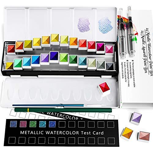 Metallische Aquarell Farbe Set, Premium Glitter Aquarell solide Farbe Box, 24 Metallic-Farben solide Pigment, löslich und Mix Well Aquarell Farben, für Kinder, Anfänger und Professionelle
