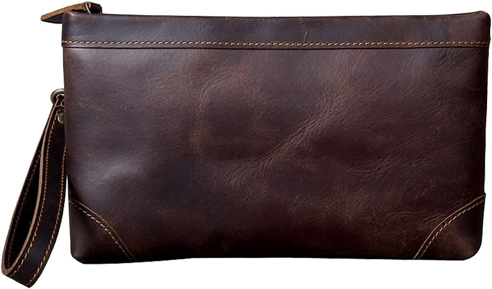 Leather Mens Clutch Bag With Wristlet Cash Men Ranking TOP12 Max 88% OFF Card Holder Case
