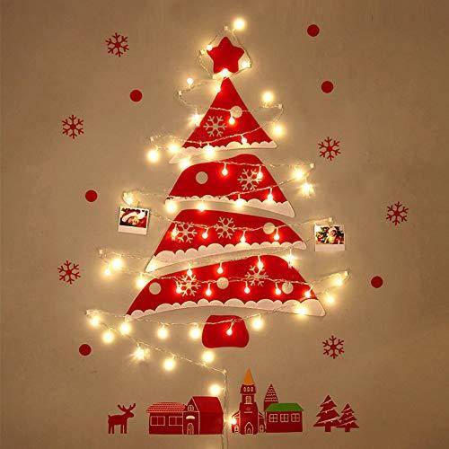 AFexm árbol de Navidad de Fieltro con luz 3.3ft Adornos de Papá Noel Decoración de Pared con Navidad para la decoración de la Puerta del hogar - Rojo-B