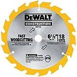 DEWALT DW9155 6-1/2-Inch 18 Tooth ATB Fast Cutting Carbide Saw Blade with...