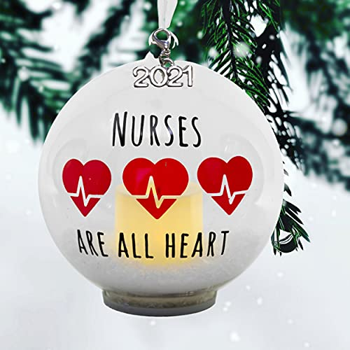2021 Nurse Ornament – LED Ball Christmas Ornament with Lighted Votive Candle and Glitter –...