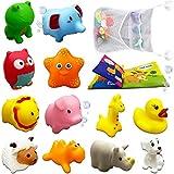 Badespielzeug, 13 Stück, schwimmende Baby-Badewannen-Spielzeuge, Tier-Badewannen-Quetsch-Spielzeug für Kleinkinder und Kleinkinder [Bauernhof]