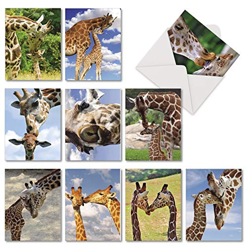 Kissing Giraffes - 10 Cute Thank You Note Cards with Envelopes (4 x 5.12 Inch) - Sweet Animals, Giraffe Greeting Notecard Set for Kids - Inspirational All Occasion Appreciation Card AM6843TYG-B1x10