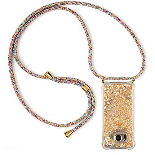 Ptny Handykette kompatibel mit Samsung Galaxy S7 Smartphone Necklace Hülle mit Band, Schnur mit Case zum umhängen Stylische Kordel Kette, Kristallklare Handyhülle zum Umhängen in Regenbogenfarbe