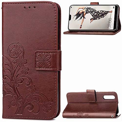 FanTings Capa para Nokia X7/8.1, série trevo de quatro folhas, capa carteira móvel com suporte para celular e compartimento para cartão, capa carteira magnética de couro PU para Nokia X7/8.1-marrom
