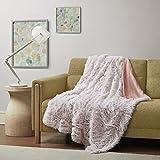 Intelligent Design Emma Super Soft Luxury Cozy Shaggy Faux Fur Long Hair Decorative Throw Blanket, 50'x60', Blush